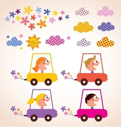 Cute children driving cars kids stuff design vector