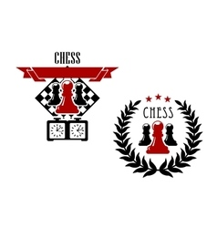 Chess game emblems and symbols vector