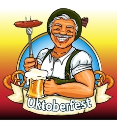 Smiling bavarian man with beer and smoking sausage vector