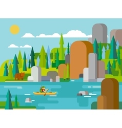 Rafting on river flat style vector