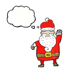Cartoon angry santa claus with thought bubble vector