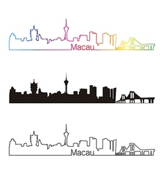 Macau skyline linear style with rainbow vector