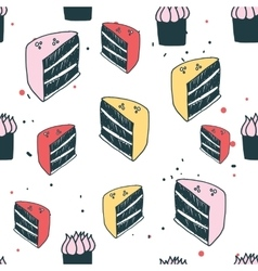 Piece of cake muffin dessert delicious food vector