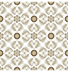 Seamless brown and white floral pattern vector
