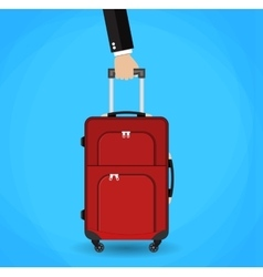 Hand holding red travel bag vector