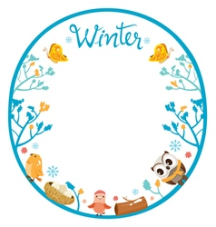 Winter tree with animal on circle frame vector