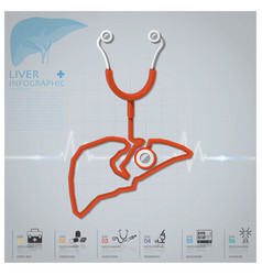 Liver shape stethoscope health and medical vector