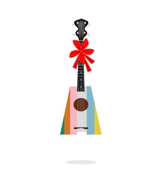 A beautiful ukulele guitar with red ribbon vector