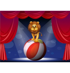 A lion above a hot air balloon vector image