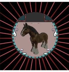 Abstract Brown horse in circle vector image vector image