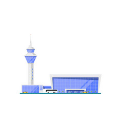 Airport glassy terminal with flight control tower vector