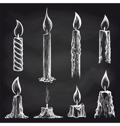 Candles collection on chalkboard vector
