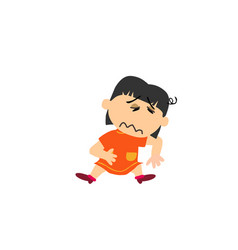 Cartoon character of a sick asian girl vector