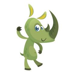 cartoon funny rhino character vector image vector image
