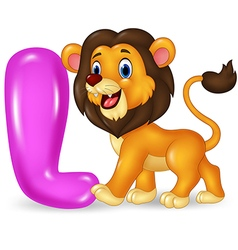 Cartoon of l letter for lion vector