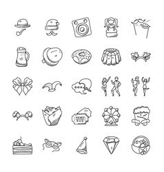 Celebration and party doodle icons set vector