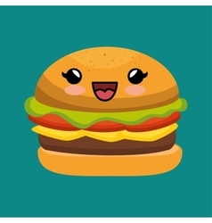 Cute kawaii burger yummy fast food vector