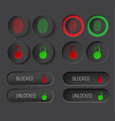 design dark of round buttons and rectangular vector image