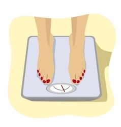 Female feet standing on weight scale vector