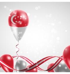 Flag of singapore on balloon vector