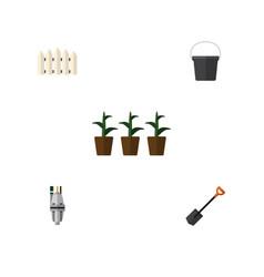 Flat icon dacha set of flowerpot pump spade and vector