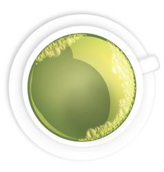 Green tea cmyk teacup vector