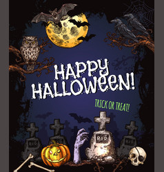 halloween party monster night sketch poster vector image