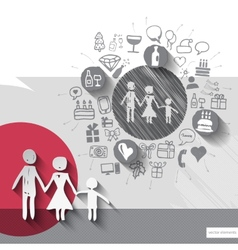Hand drawn family icons with icons background vector