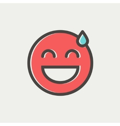 Happy sweat face thin line icon vector image