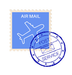 international air mail stamp with post service vector image vector image
