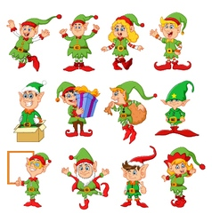 many elfs cartoon vector image vector image