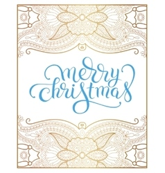 merry christmas hand lettering inscription on gold vector image vector image