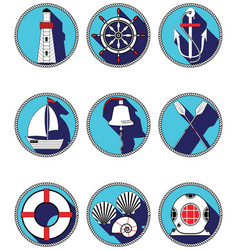 Nautical elements I icons in knottet circle vector image