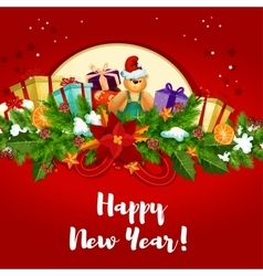New Year poster with holly berry and gifts vector image vector image