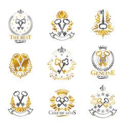 Old turnkey keys emblems set heraldic design vector