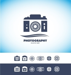Photo camera logo icon vector