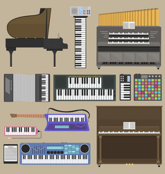 piano keyboard musical instruments isolated vector image vector image