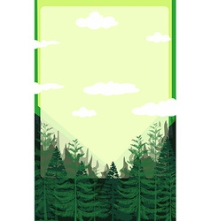 Pine forest with green sky vector