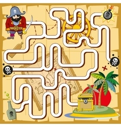 Pirate maze labyrinth game for preschool children vector