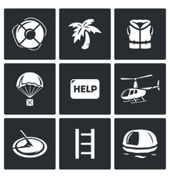 Rescue operation icons set vector