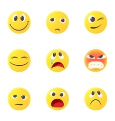 Round smileys icons set cartoon style vector image vector image