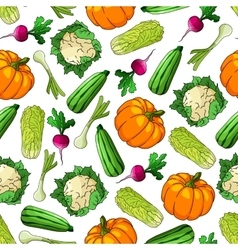 Seamless healthy vegetables pattern background vector image vector image
