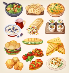 Set of colorful vegetarian food vector image vector image