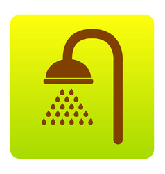Shower sign brown icon at green-yellow vector