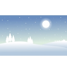 Silhouette of winter christmas hill scenery vector