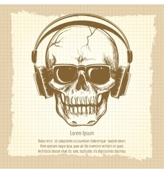 Skull sketch with headphones vintage style vector