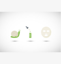 Snail mucus facial mask flat icons set vector