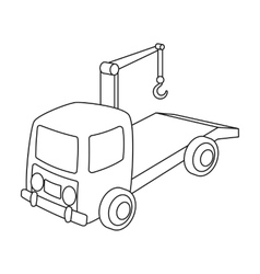 Tow truck icon in outline style isolated on white vector