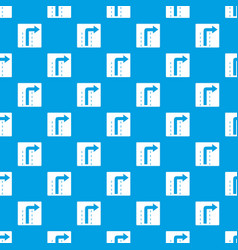 turn right traffic sign pattern seamless blue vector image