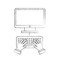 user with desktop isolated icon vector image